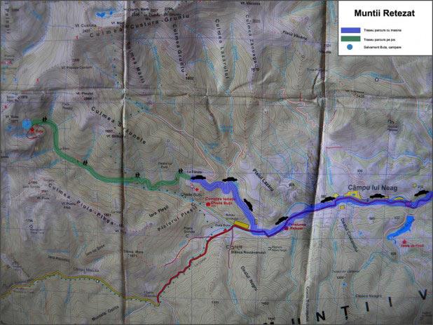 Harta Muntii Retezat 618x463 Traseu montan in Retezat: Bucuresti   Campul lui Neag   Cabana Buta   Salvamont Buta